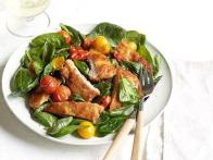 Warm Spinach Salad With Pork Milanese
