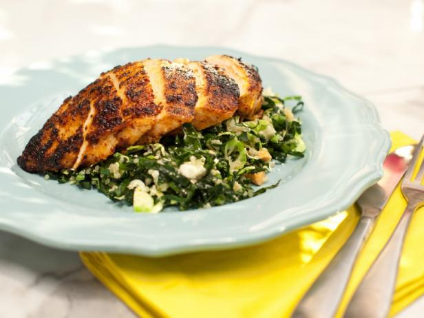 Chile-Rubbed Chicken Breast with Kale, Quinoa and Brussels Sprouts Salad