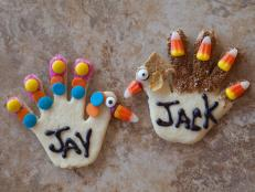 Turkey hand cookie place cards for Thanksgiving