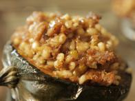 Stuffed Acorn Squash with Sausage, Barley and Goat Cheese