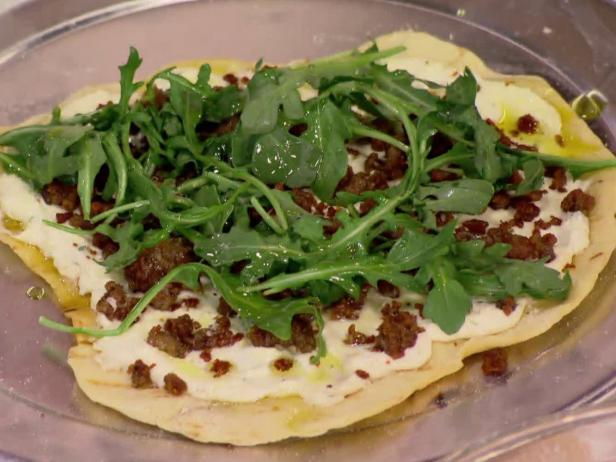 Grilled Pizzetta with Ricotta, Sausage, Arugula and Chili Oil