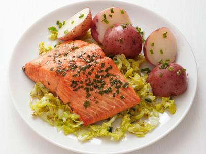 Soy maple salmon recipe food network kitchen food network chive coriander salmon and cabbage recipe courtesy of food network kitchen forumfinder Gallery