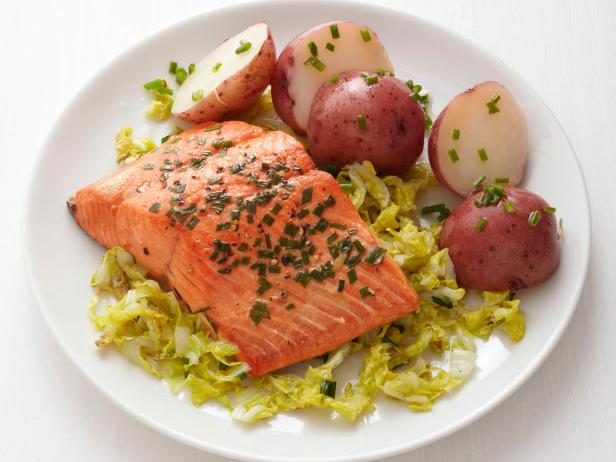 Chive-Coriander Salmon and Cabbage