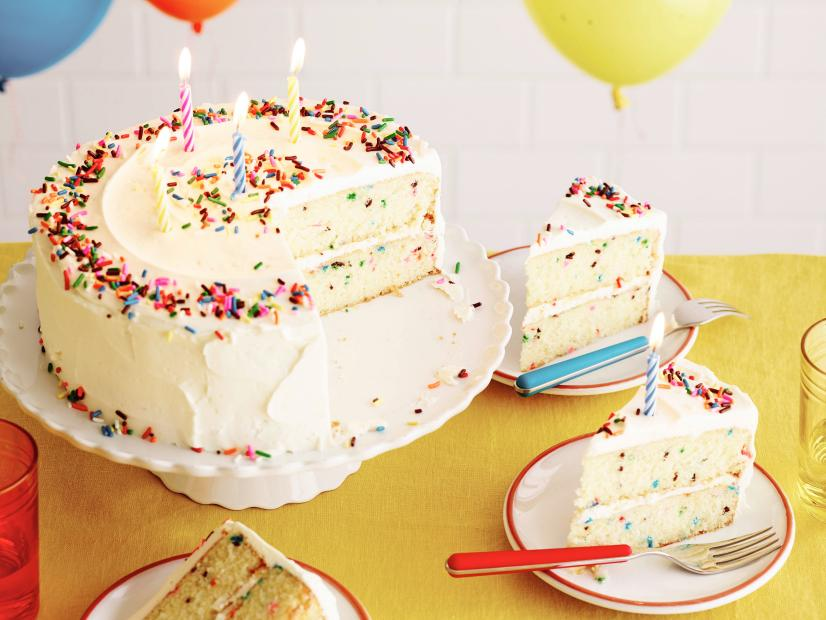 Fabulous Fluffy Confetti Birthday Cake Recipe Food Network Kitchen Food Funny Birthday Cards Online Fluifree Goldxyz