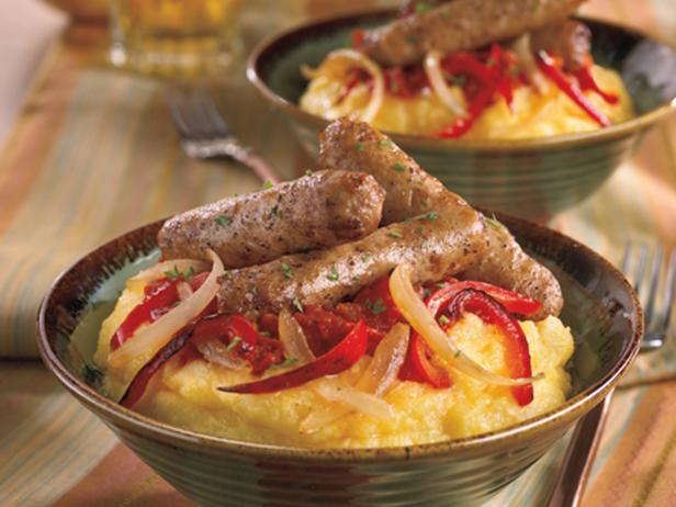 Turkey Sausage and Peppers with Polenta