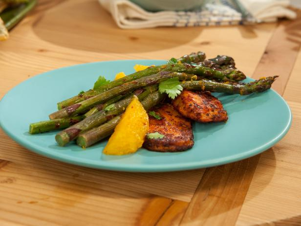 Roasted Ginger Asparagus with Pan-Seared Pasilla-Rubbed Cheese