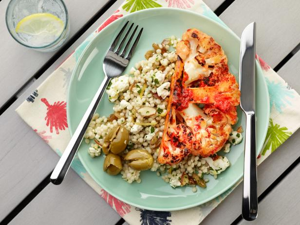 Grilled Cauliflower Steak with Israeli Couscous and Olives