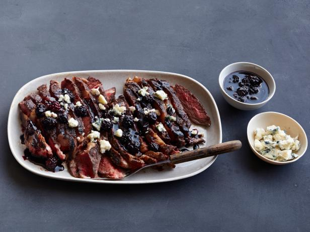 Rib-Eye Steaks with Berries and Blue Cheese