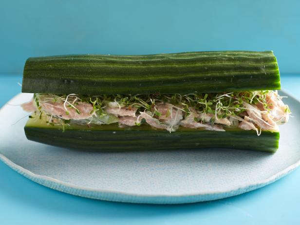 Breadless Cucumber Tuna Salad Sandwiches