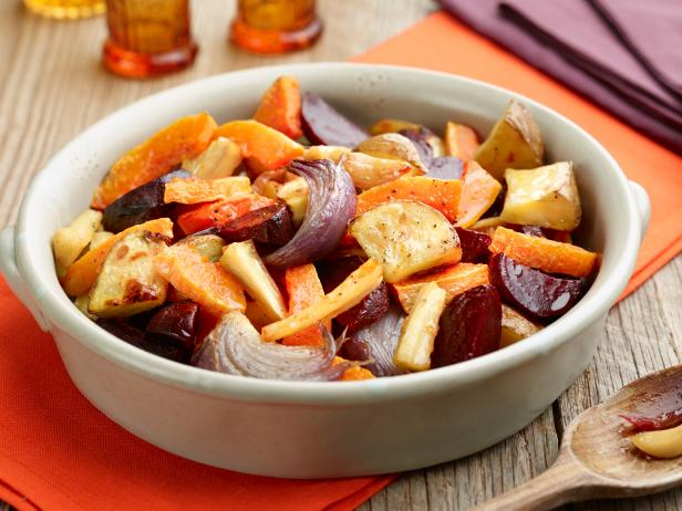 Oven roasted root vegetables recipe food network kitchen food oven roasted root vegetables forumfinder