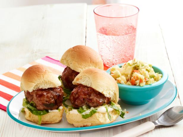 Chinese Meatball Sliders with Pineapple Salad