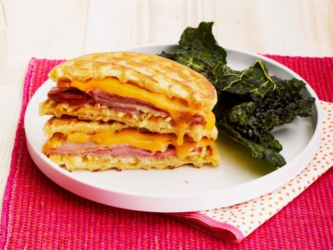 Ham-and-Cheese Wafflewiches with Kale Chips