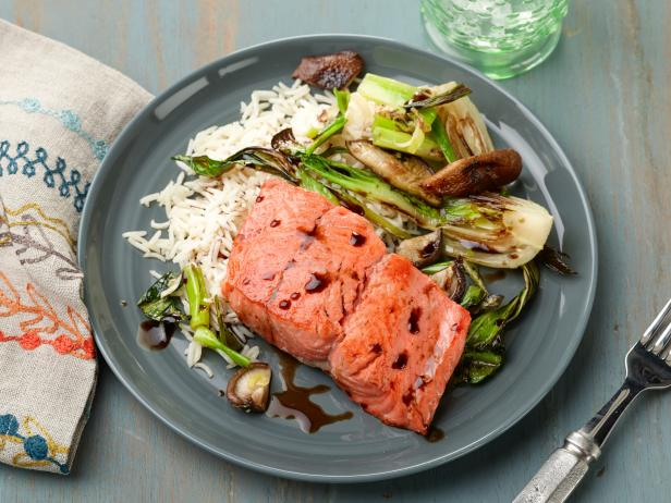 30 Minute Pan Seared Salmon With Baby Bok Choy And Shiitake Mushrooms Recipe Food Network Kitchen Food Network