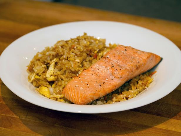 Fried rice with simple baked salmon recipe food network fried rice with simple baked salmon forumfinder Images