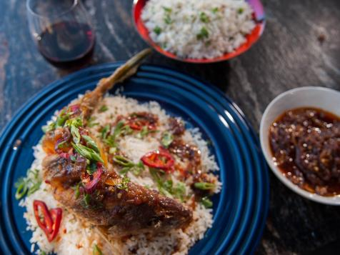 Crispy Whole Thai Fried Fish with Ginger Tamarind Sauce and Coconut-Cilantro Rice Pilaf