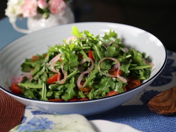 Arugula Salad with Pickled Red Onions and Champagne Vinaigrette