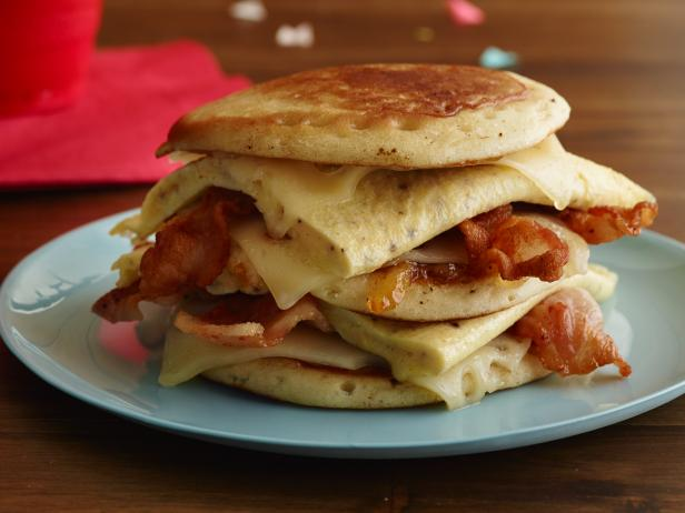 Hangover Bacon, Egg and Cheese Pancake Sandwich