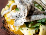 Soft-Boiled Egg and White Anchovy Breakfast Sandwiches