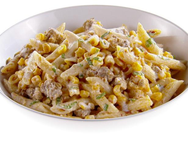 Penne with Corn and Spicy Sausage
