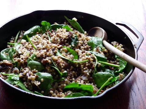 Sorghum Salad with Sprouted Lentils and Shiitake Mushrooms