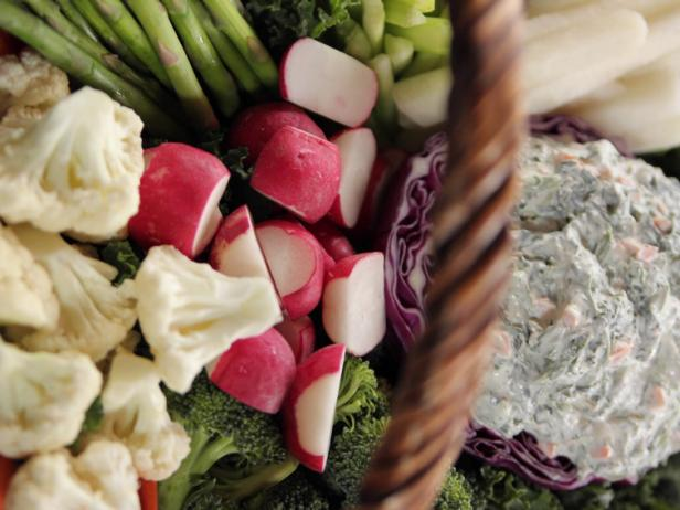 Easter Crudites Basket with Spinach Dip