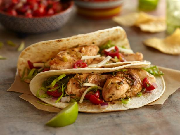 Lime chicken soft taco recipe food network lime chicken soft taco forumfinder Choice Image