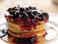 Cornmeal Pancakes with Blueberry Syrup
