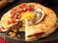 "Bacon and Hash Brown ""Quesadilla"" with Eggs"