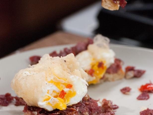 Crisp Tempura Poached Egg over English Muffin with Red Pepper Corned Beef Hash