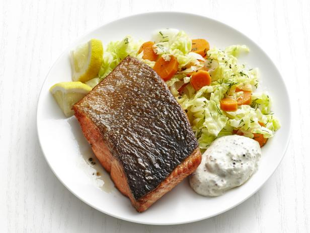 Salmon with Dill Carrots and Cabbage