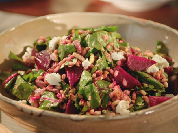 Farro, Roasted Beet and Goat Cheese Salad