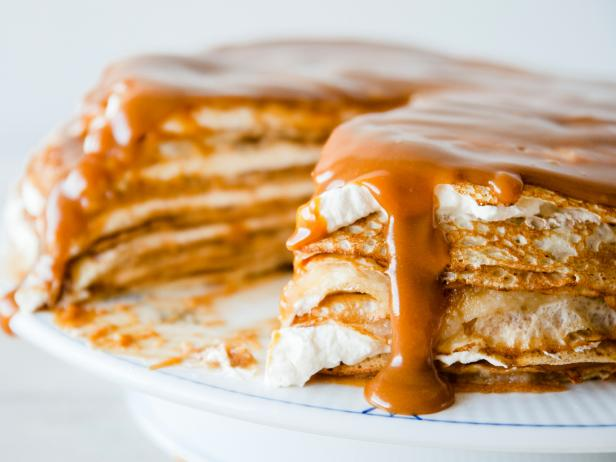 Salted Caramel Apple Crepe Cake
