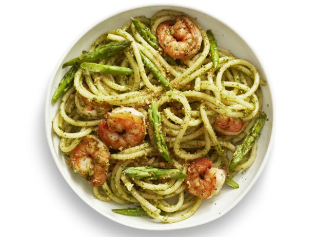 Pesto pasta with shrimp recipe food network kitchen food network pesto pasta with shrimp forumfinder Images