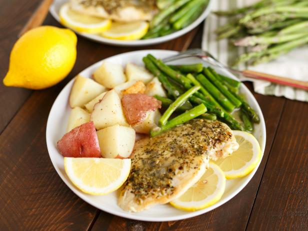 Lemon and Herb Chicken with Asparagus and Roasted Red Potatoes for Two