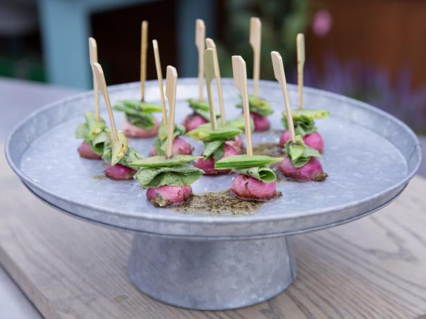 Radish and Snap Pea Bites with Rosemary Brown Butter Drizzle