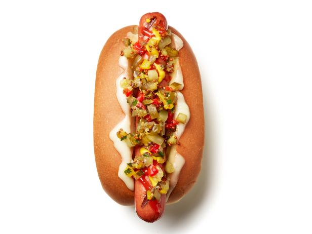 Cheesy Hot Dogs with Pickle-Pepper Relish