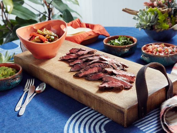 Steak Fajitas with Guacamole and Fixings