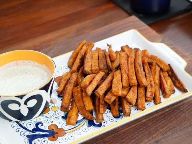 Oven Baked Sweet Potato Fries With Homemade Ranch Dressing Recipe Food Network