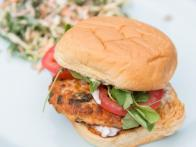 Salmon Burgers with Lemon-Caper Aioli and Kale Slaw