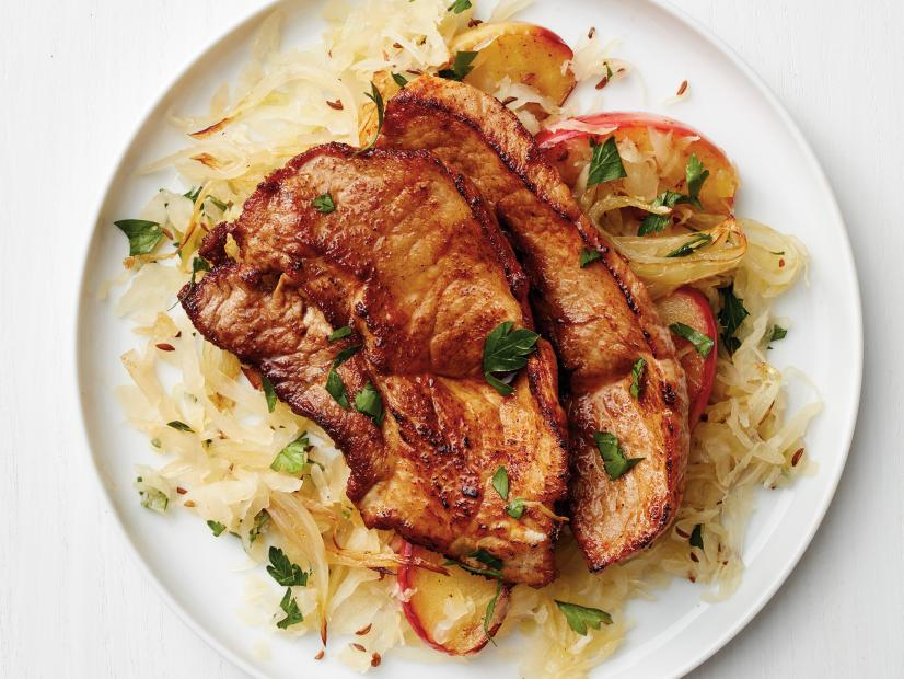 Paprika Pork Scallopini With Sauerkraut And Apples Recipe Food Network Kitchen Food Network