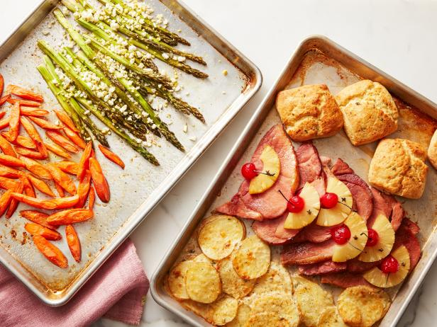Easter dinner on two sheet pans recipe food network kitchen food easter dinner on two sheet pans forumfinder Images