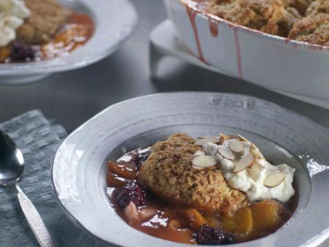 Peach-Blackberry Cobbler with Almond-Buttermilk Biscuit Topping and Almond Whipped Cream