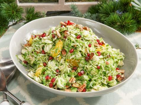 Shaved Brussels Sprouts with Pomegranate Orange Vinaigrette and Pecans
