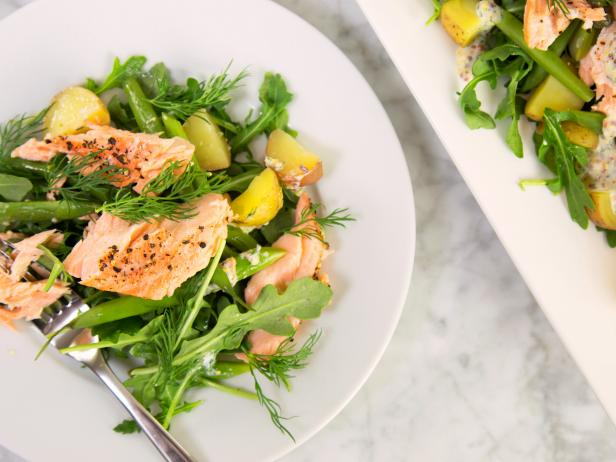 Warm Salmon and Potato Salad with Creamy Dill Dressing