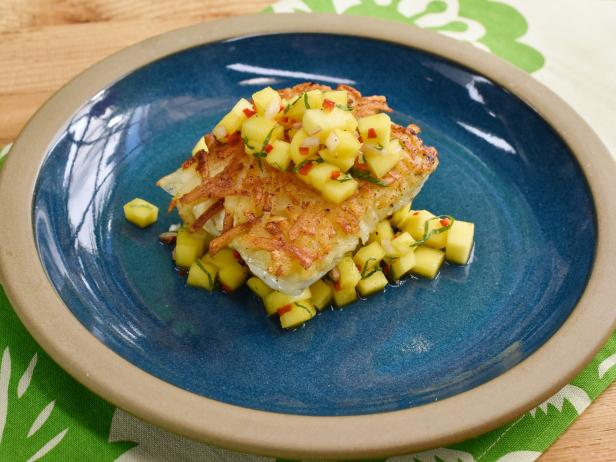 Hash Brown-Crusted Halibut with Mango Mint Relish