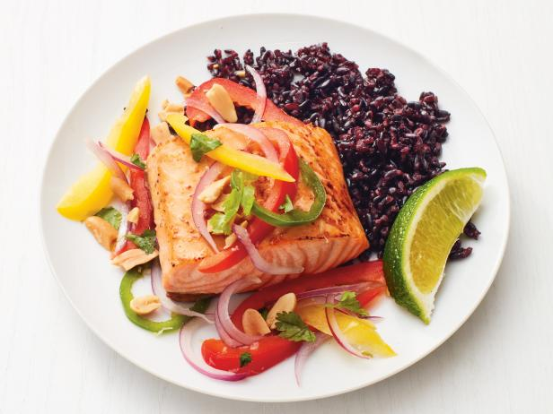 Salmon with Thai Vegetables and Black Rice