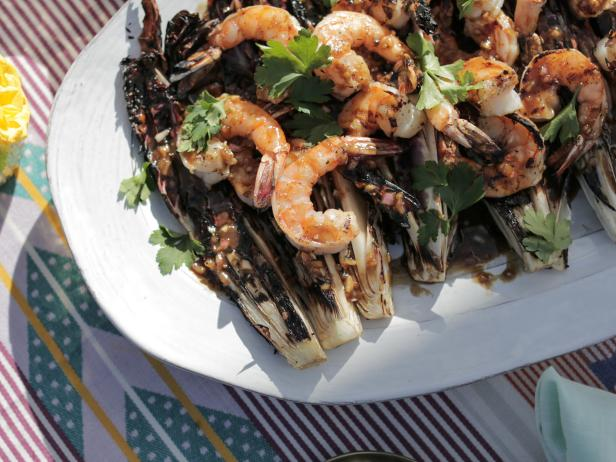 Grilled Radicchio and Shrimp Salad with Honey Balsamic Vinaigrette