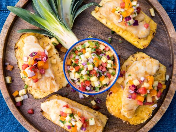 Grilled Fish on Pineapple Planks with Spicy Pineapple Salsa