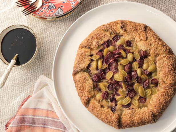 Grape and Ricotta Galette with Fennel Crust and Red Wine Syrup
