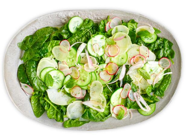 Cucumber, Kohlrabi and Spinach Salad